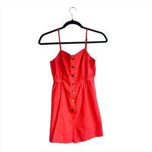 Urban Outfitters Cope Red Linen Romper Size XS